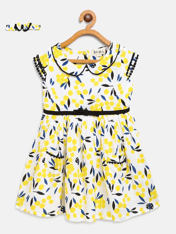 Bella Moda Girls White   Yellow Printed Fit   Flare Dress