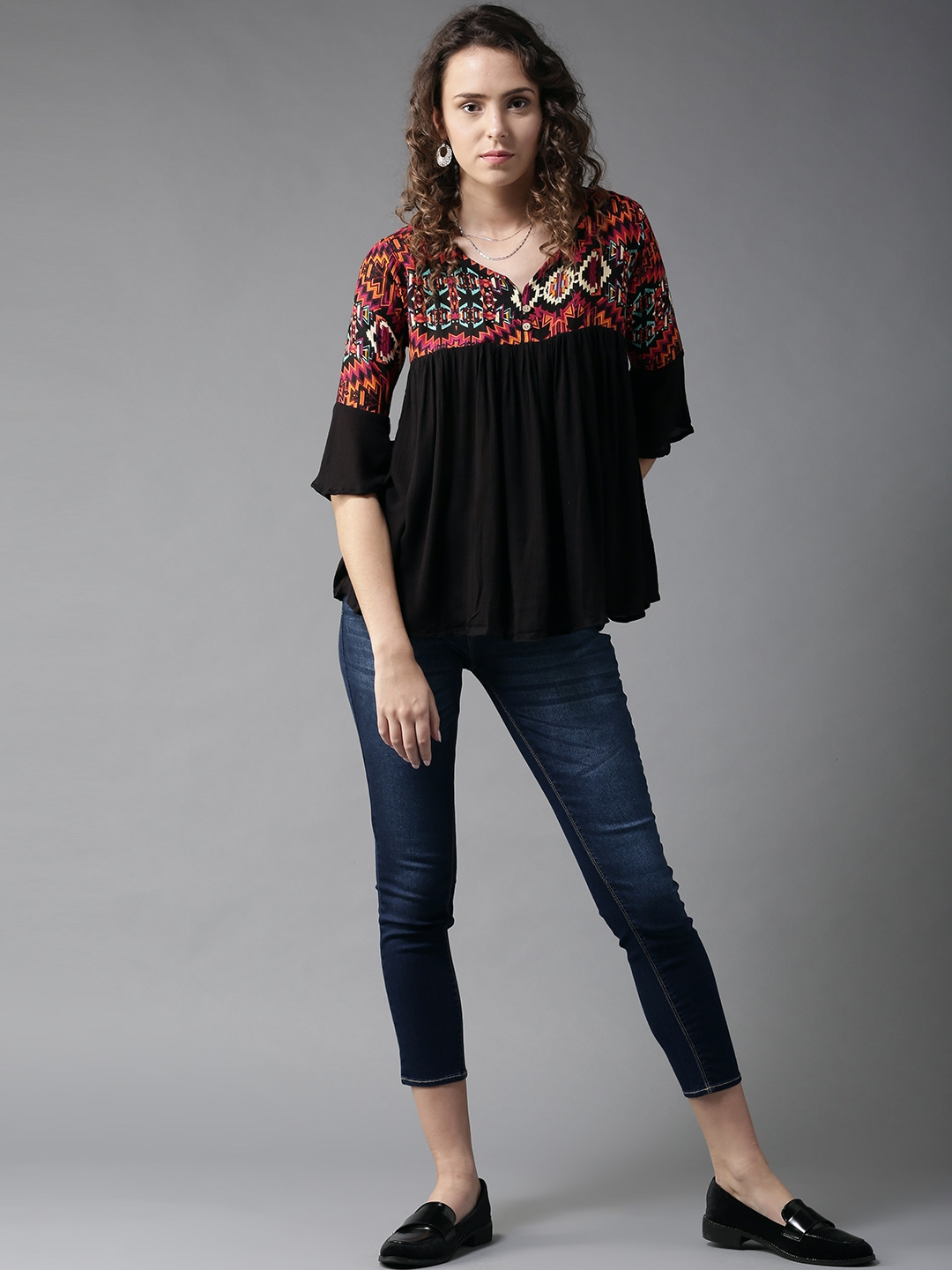 HERE NOW Women Black Printed Top With Bell Sleeves