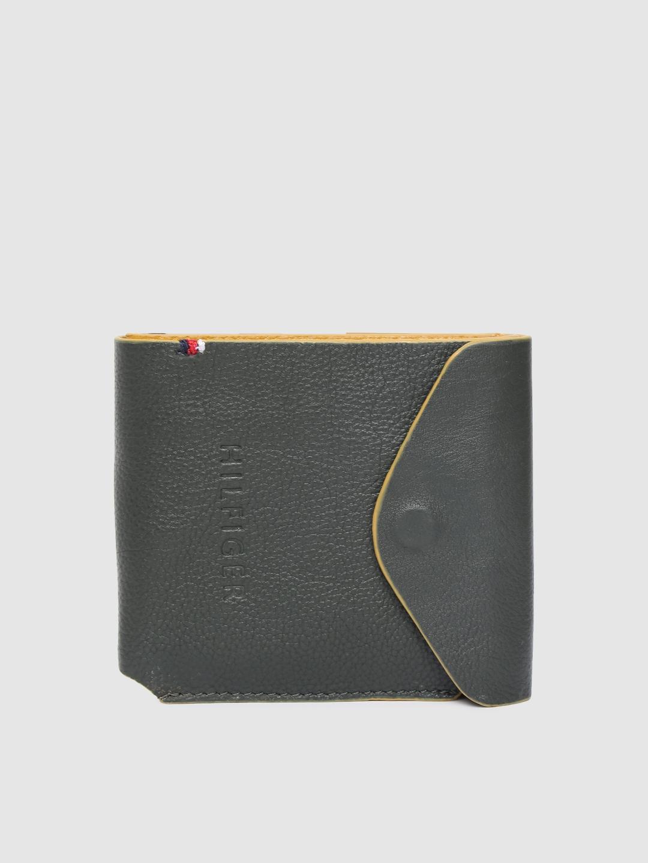 Tommy Hilfiger Men Olive Green Solid Leather Two Fold Wallet
