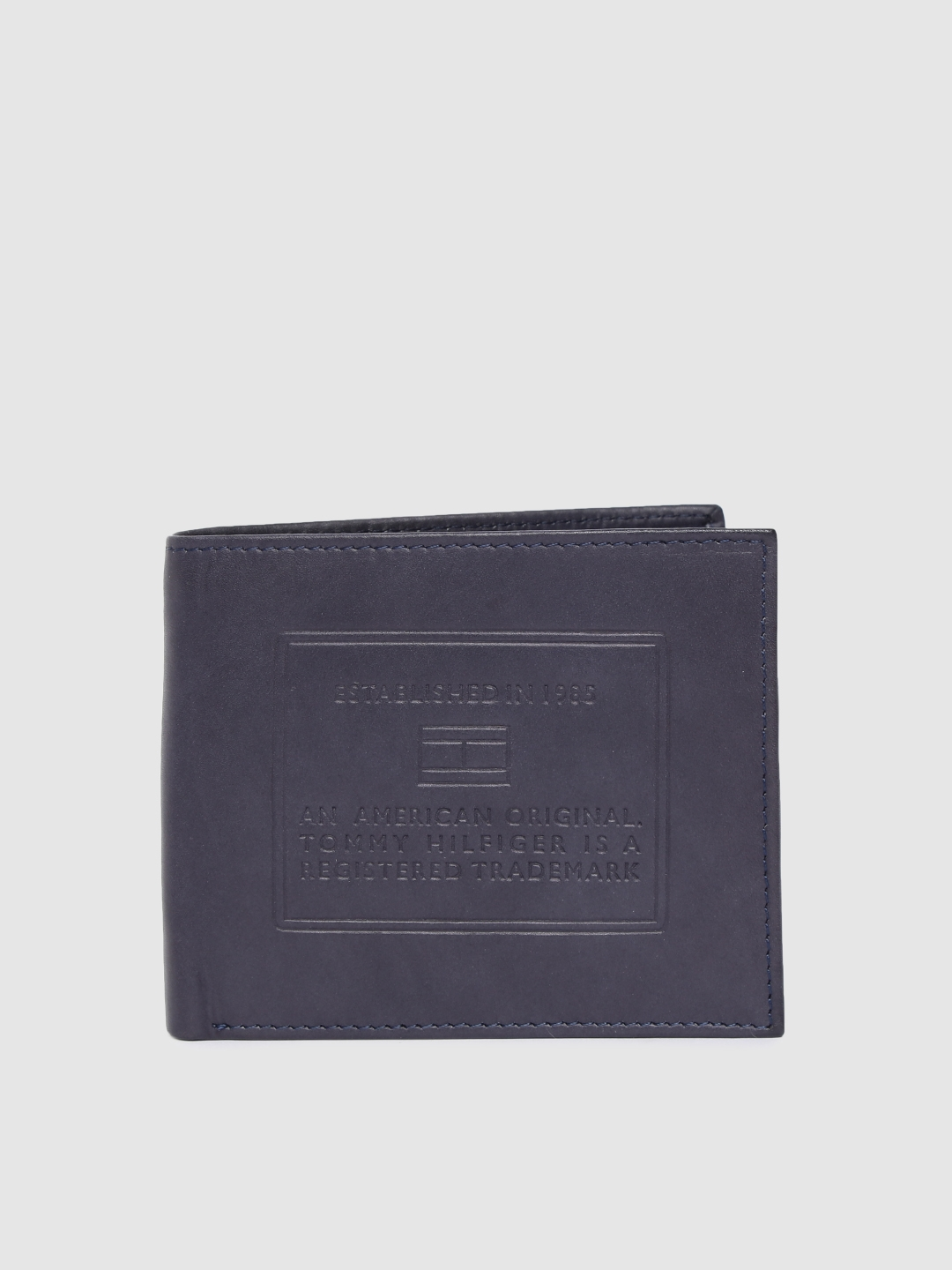 Tommy Hilfiger Men Navy Blue Textured Leather Two Fold Wallet