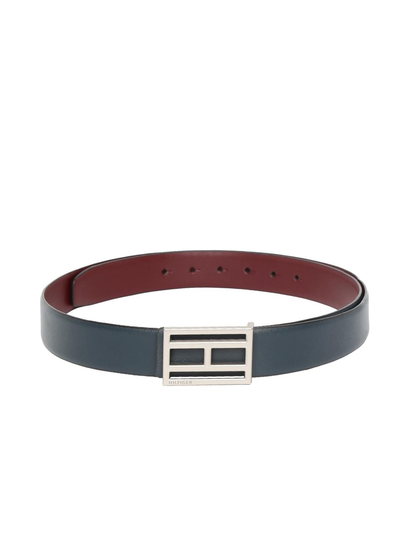 Tommy Hilfiger Men Maroon   Navy Blue Solid Reversible Belt