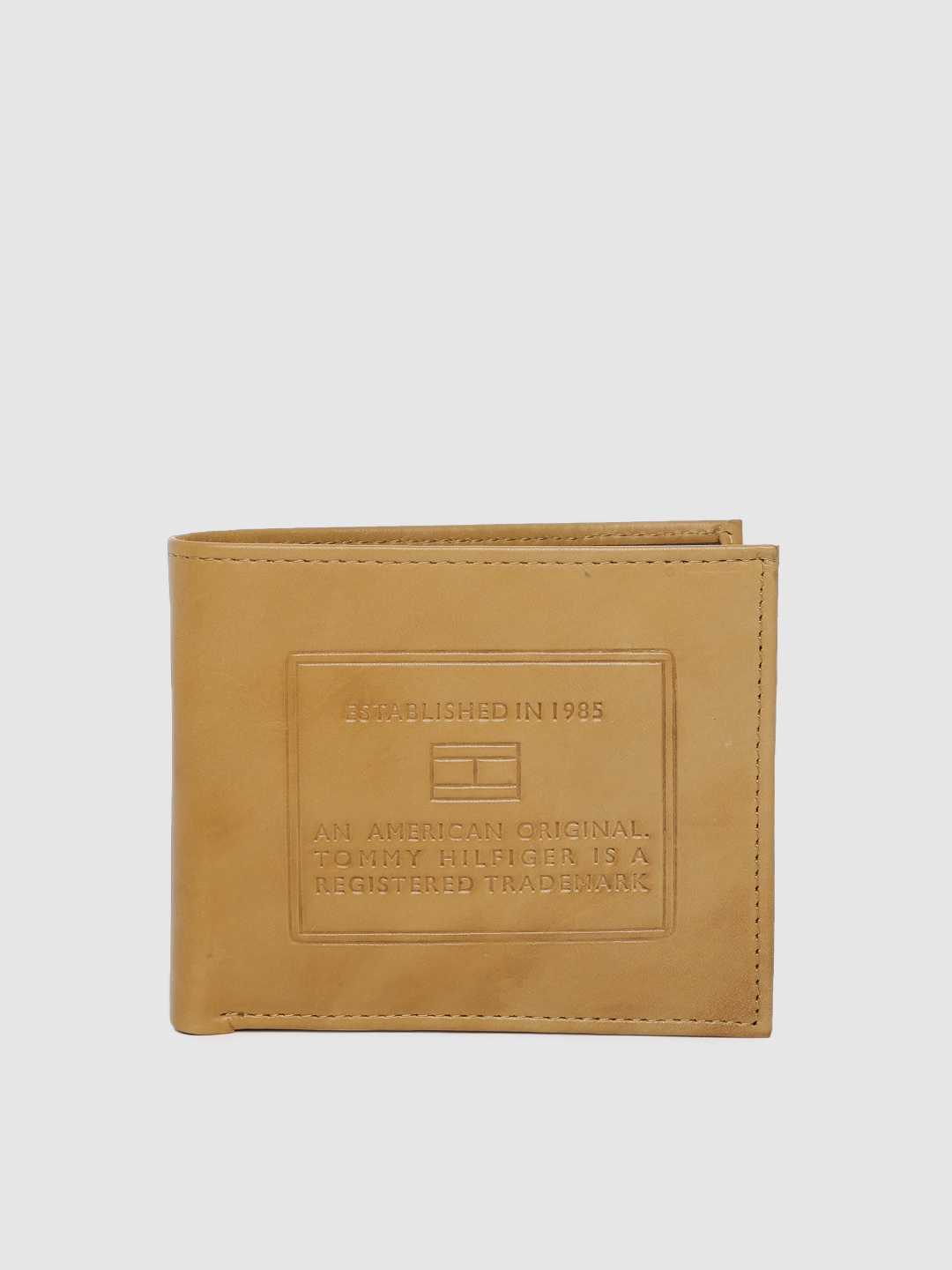 Tommy Hilfiger Men Mustard Yellow Textured Leather Two Fold Wallet