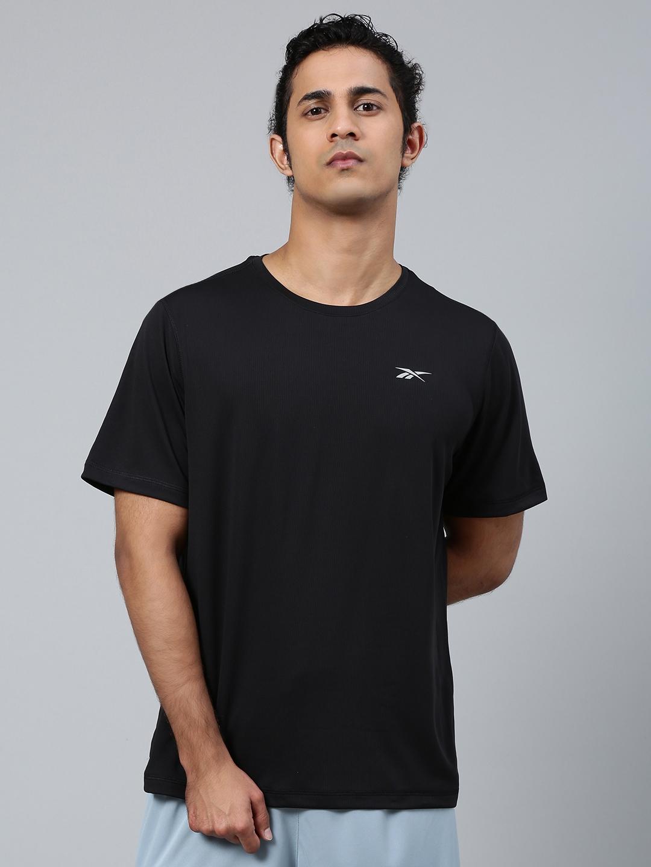 Reebok Men Black Solid Running Essentials Short Sleeve T Shirt