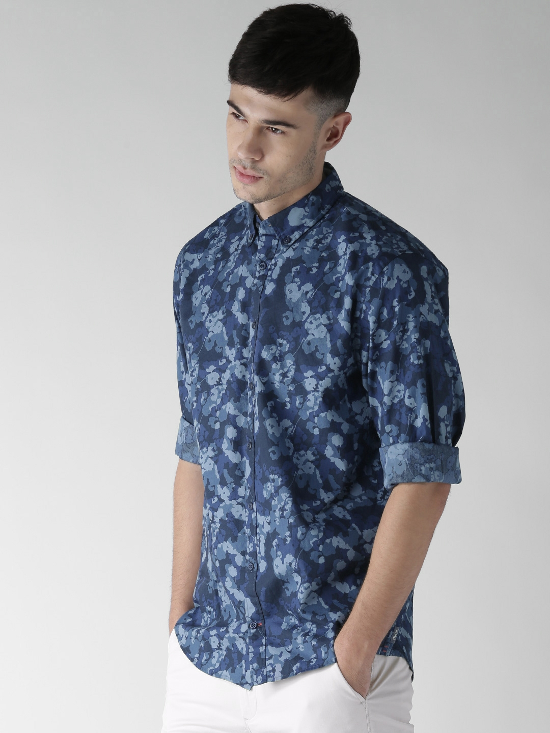 dc710a7c11846 Tommy Hilfiger Blue Printed New York Fit Casual Shirt