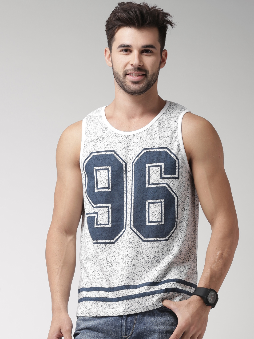 Moda Rapido White   Navy Printed Sleeveless T shirt