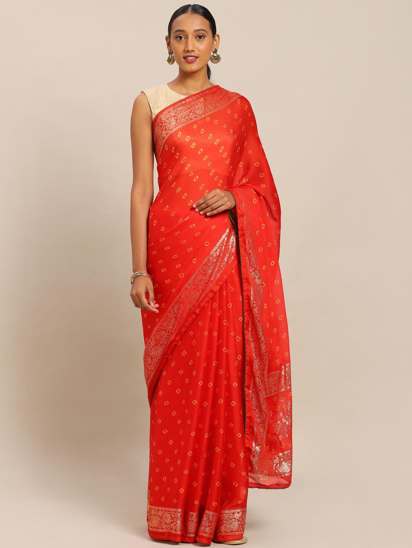 Mitera Red   Mustard Yellow Art Silk Printed Bandhani Silk Saree