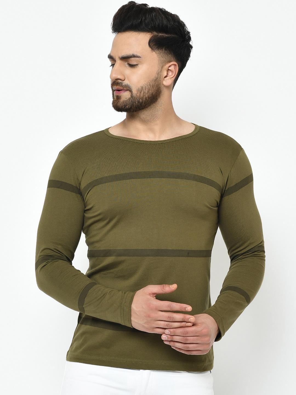 Rigo Men Olive Green Striped Round Neck T shirt