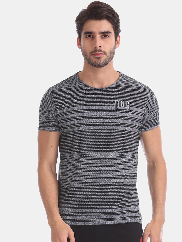 Ed Hardy Men Grey   Black Striped Round Neck T shirt