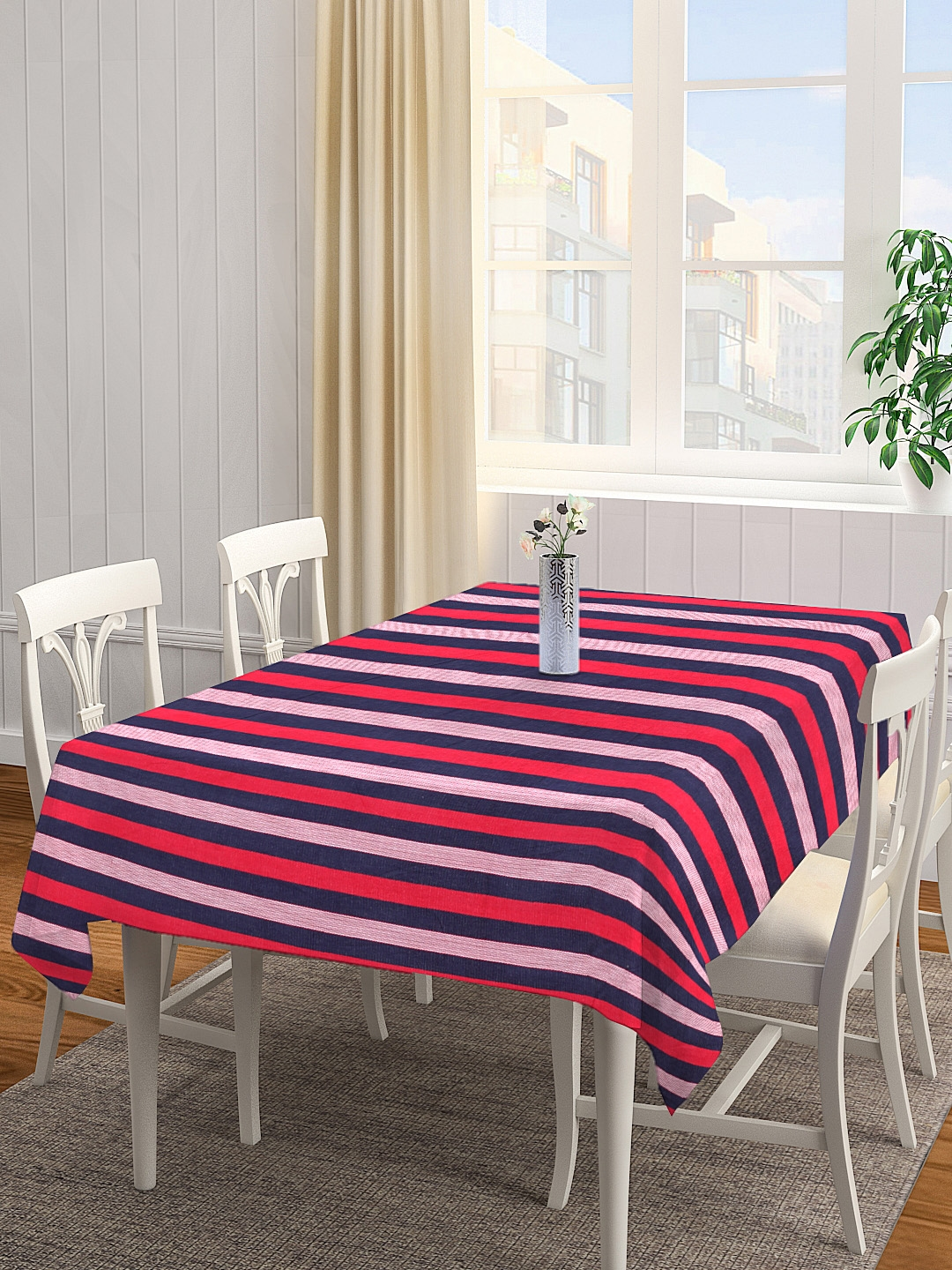 NEUDIS by Dhrohar Red   Blue Striped Four Seater Table Cover