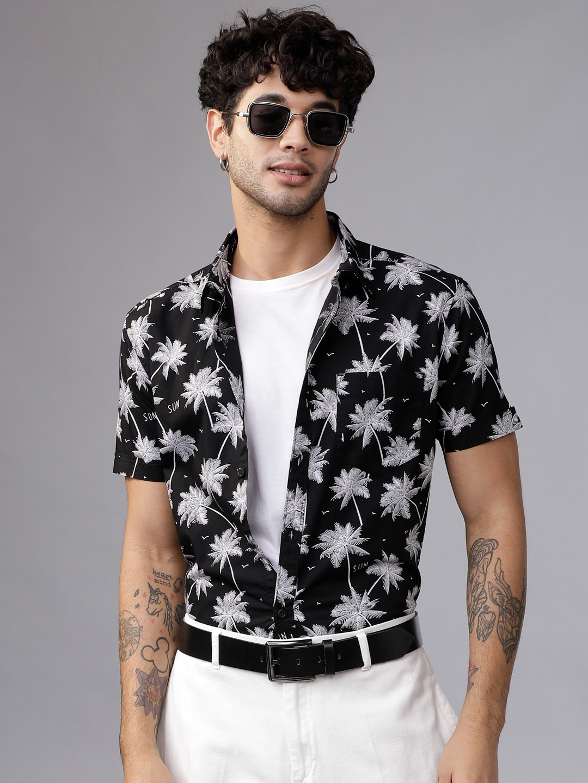 HIGHLANDER Men Black   White Slim Fit Printed Casual Shirt
