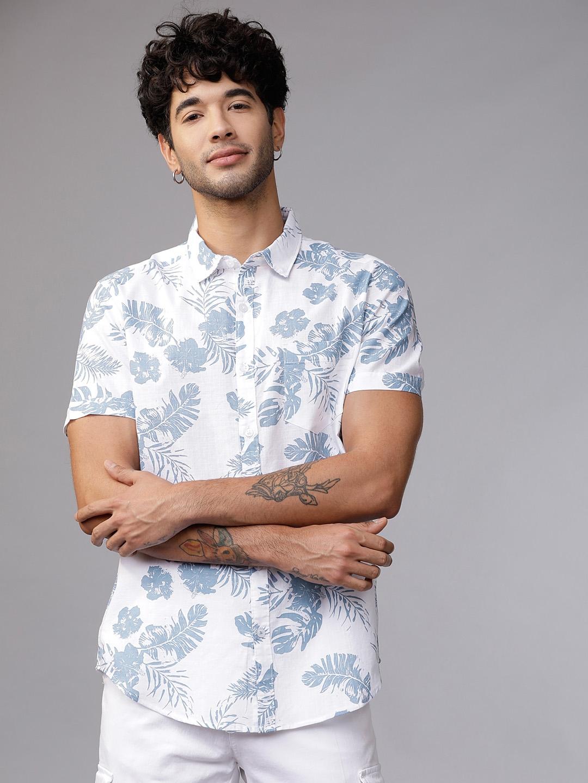 HIGHLANDER Men White   Blue Slim Fit Printed Casual Shirt