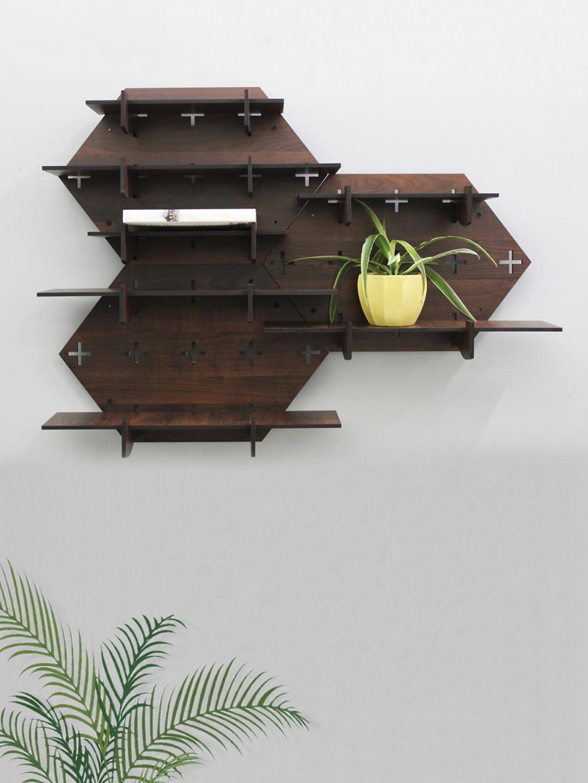 RANDOM Brown MDF Basic Wall Shelf