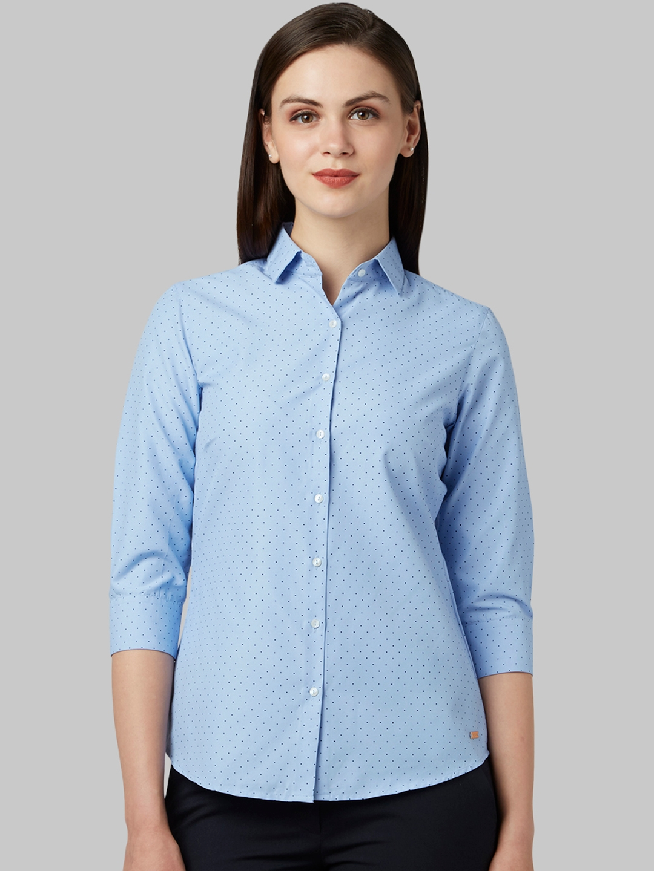 Park Avenue Woman Women Blue Regular Fit Printed Casual Shirt