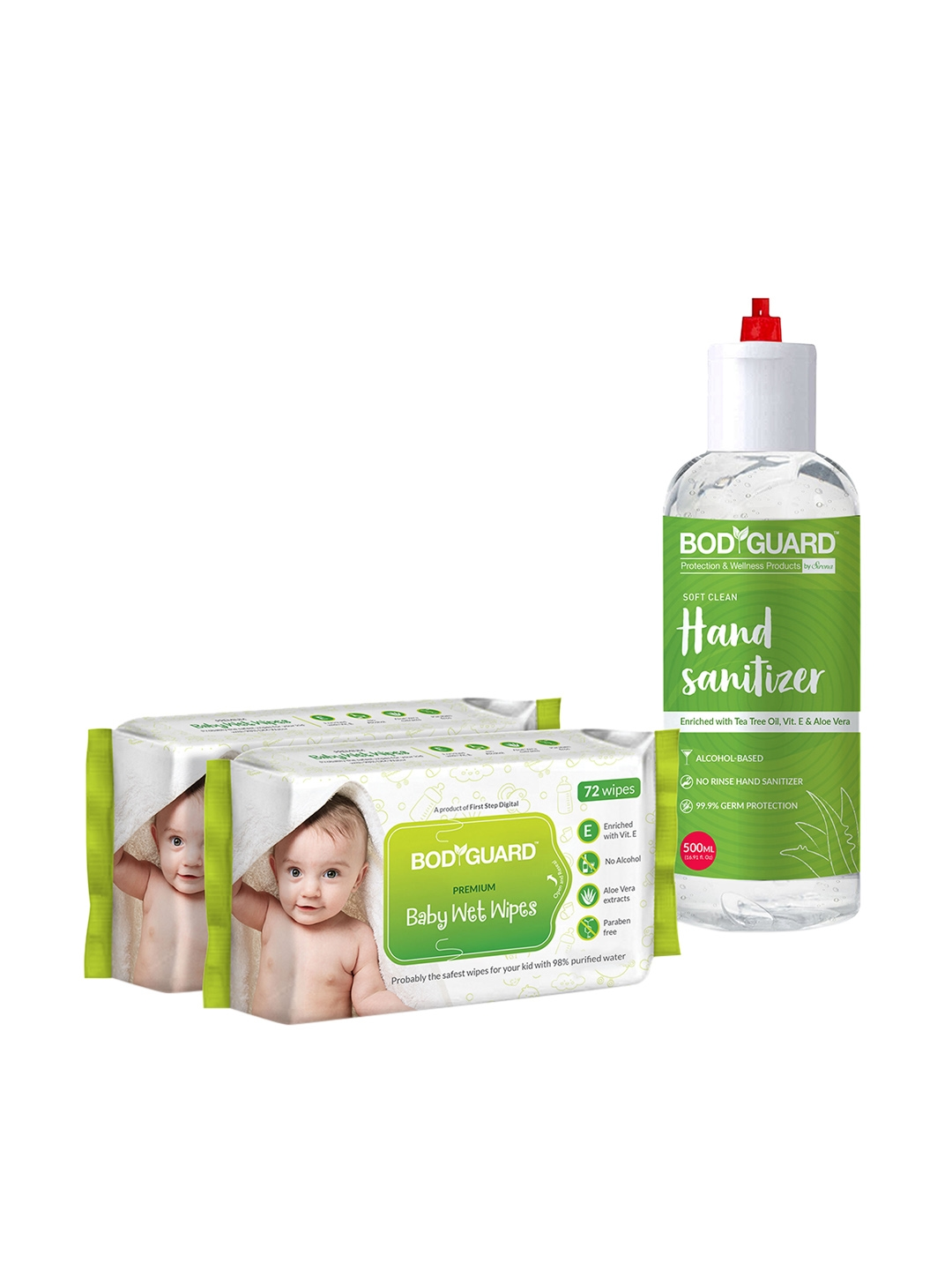 BOD GUARD Set of 2 Baby Wet Wipes   Alcohol Based Hand Sanitizer 500 ml