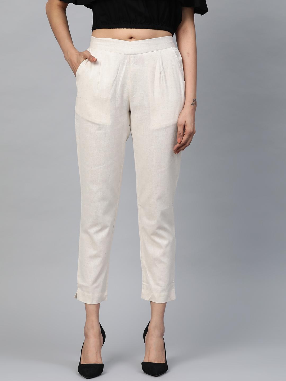 AURELIA Women Beige Regular Fit Speckled Effect Cropped Trousers