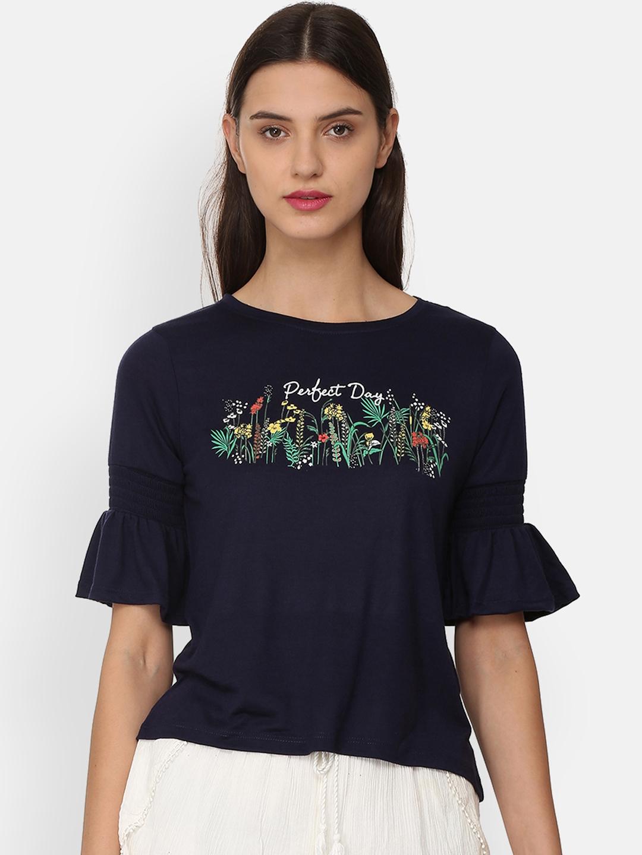 People Women Navy Blue Printed Top
