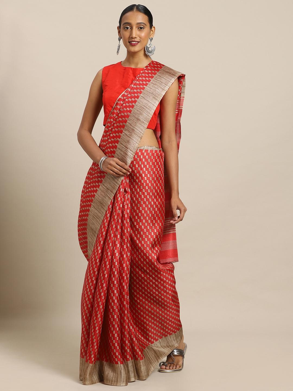 Mirchi Fashion Red   Beige Art Silk Printed Khadi Saree