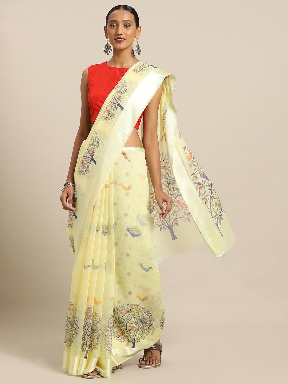 Mirchi Fashion Yellow   Blue Polycotton Printed Saree