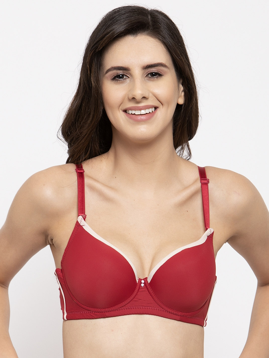 Quttos Red Solid Underwired Lightly Padded T shirt Bra QT BR 40
