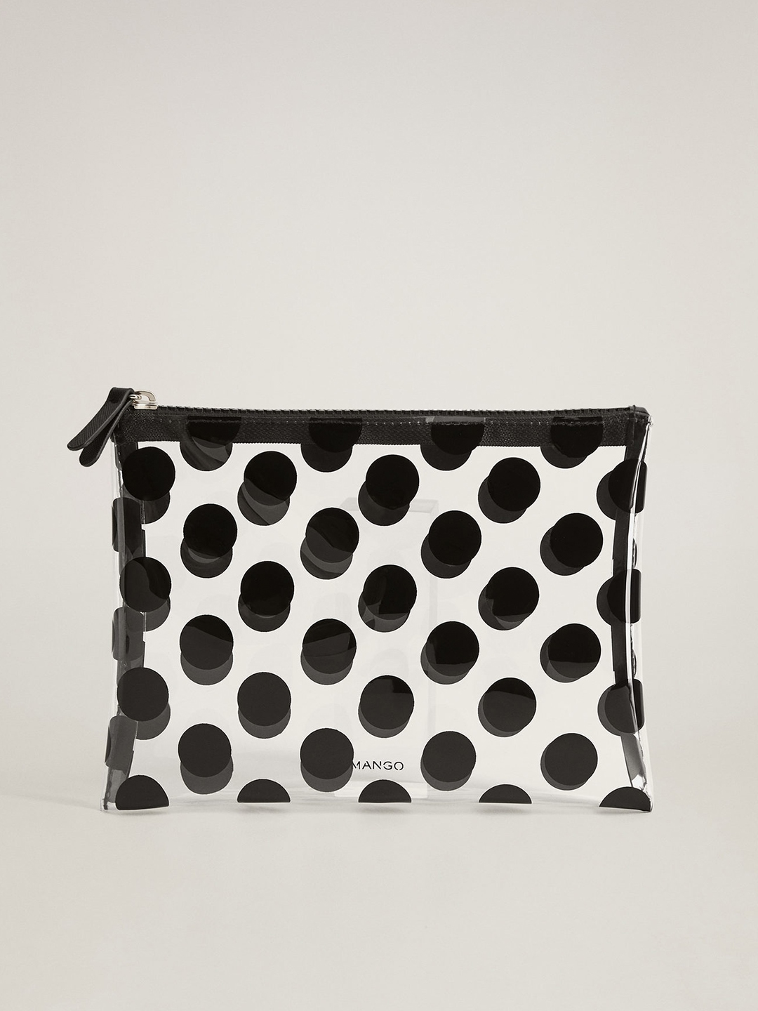 MANGO Women Transparent   Black Polka Dot Print Cosmetic Pouch