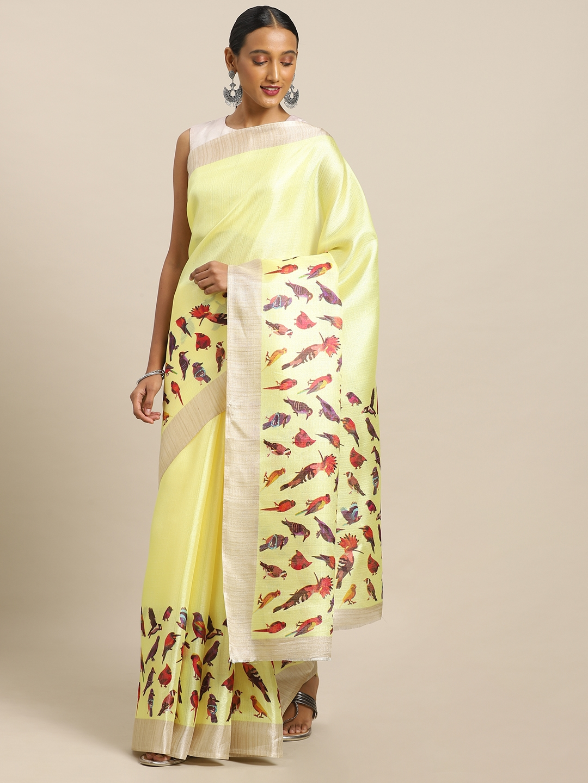 Mirchi Fashion Yellow   Red Art Silk Printed Khadi Saree