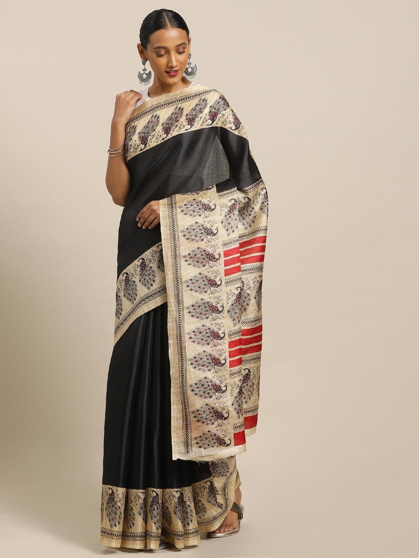 Mirchi Fashion Black   Beige Art Silk Printed Khadi Saree