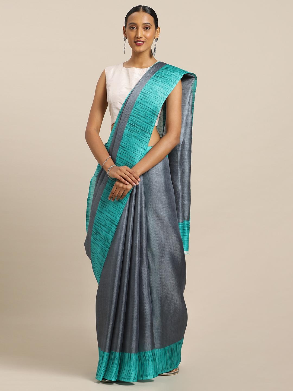 Mirchi Fashion Grey Art Silk Solid Khadi Saree