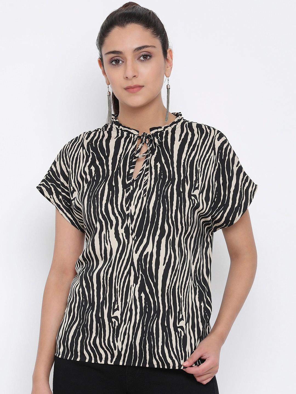 Oxolloxo Women Black Animal Print Top