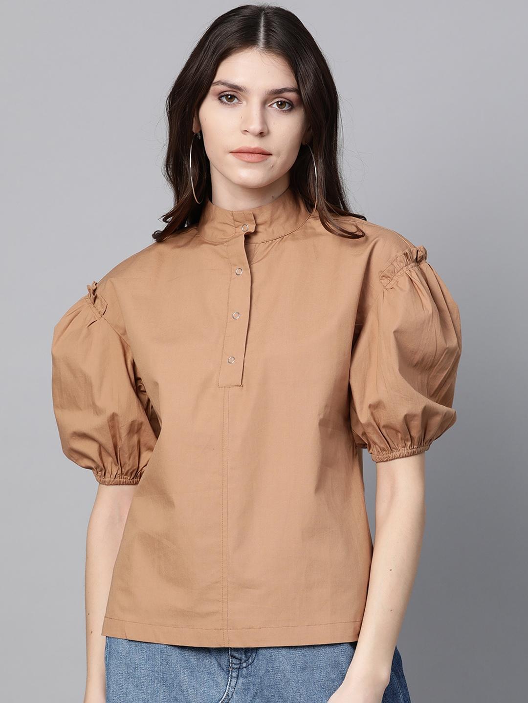 SASSAFRAS Women Brown Puff Sleeves Solid Top