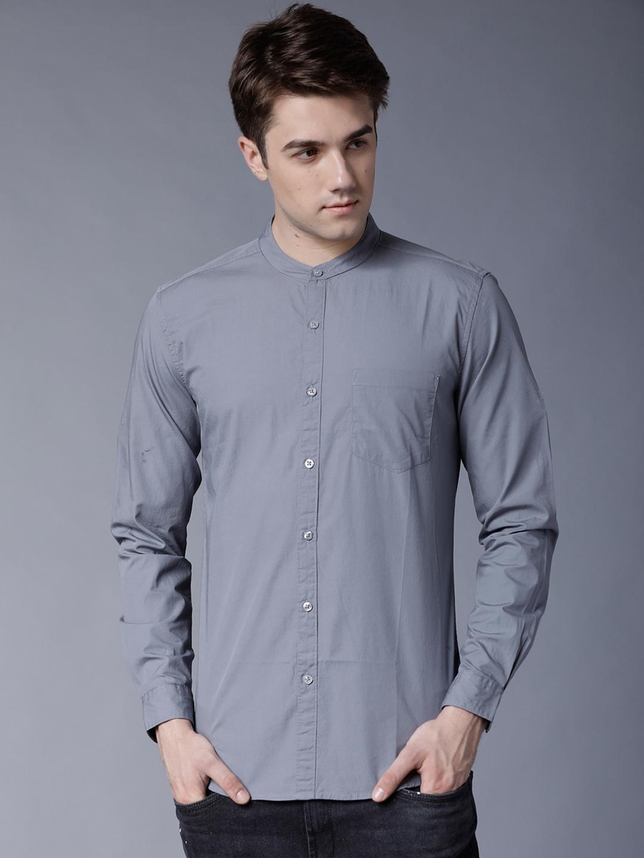 HIGHLANDER Men Grey Slim Fit Solid Yarn Dyed Casual Shirt