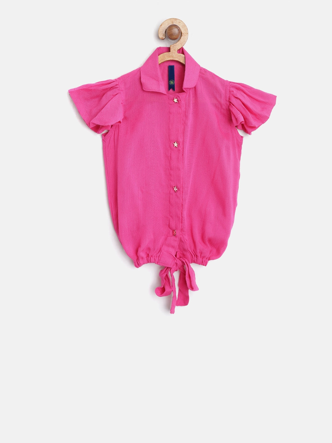 YK Girls Pink Solid Shirt Style Top with Tie Ups