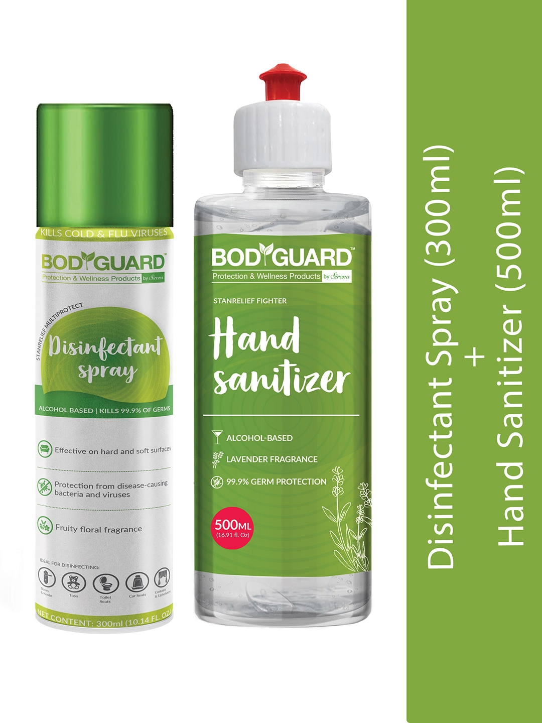 BOD GUARD Set of Green Alcohol Based Disinfectant Spray   300 ml, Hand Sanitizer   500 ml