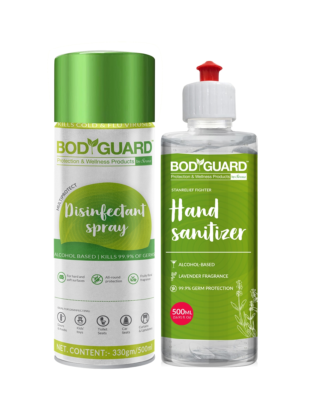 BOD GUARD Set of Alcohol Based Disinfectant Spray   500 ml, Hand Sanitizer   500 ml
