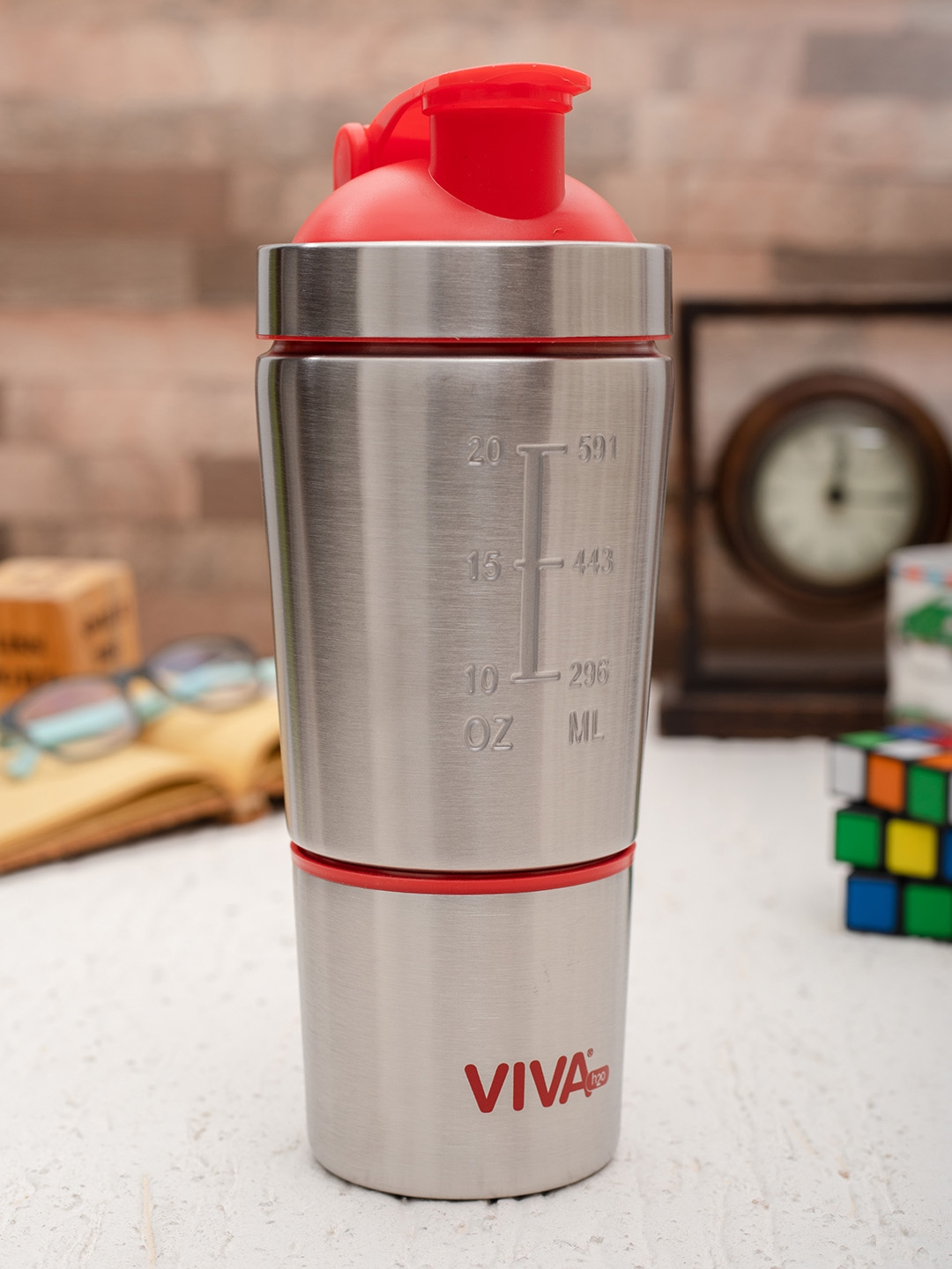 VIVA h2o Unisex Silver Toned Solid Stainless Steel Water Bottle