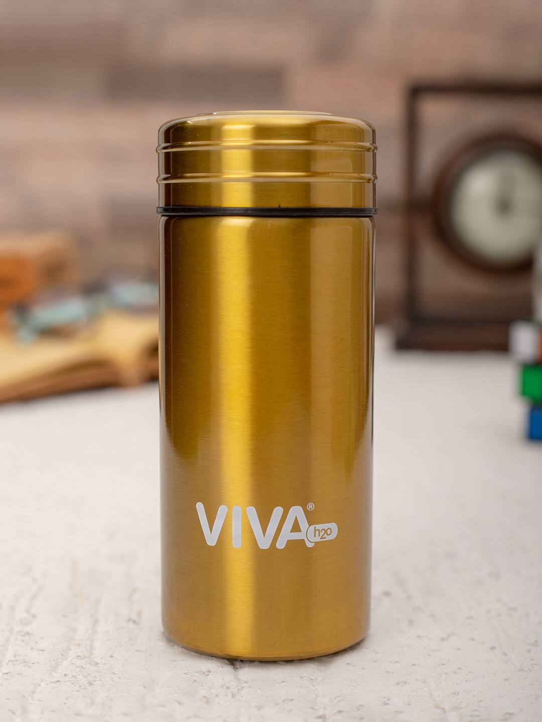 VIVA h2o Unisex Yellow Solid Double Wall Stainless Steel Vaccum Insulated Water Bottle