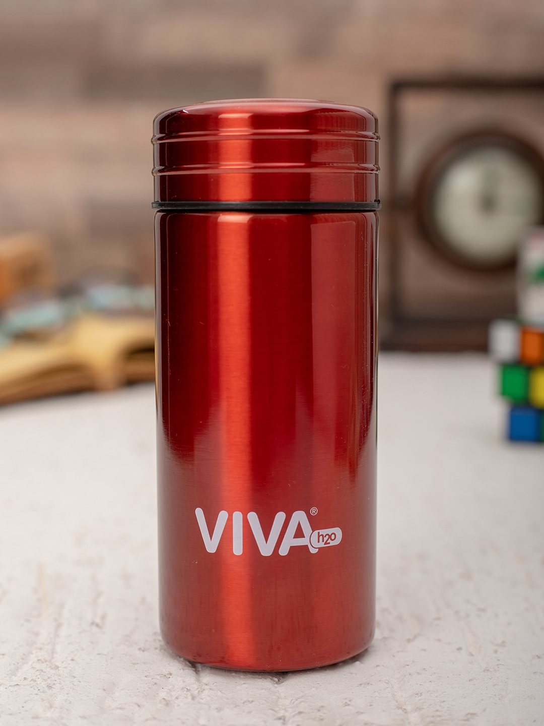 VIVA h2o Unisex Red Solid Double Wall Stainless Steel Vaccum Insulated Water Bottle