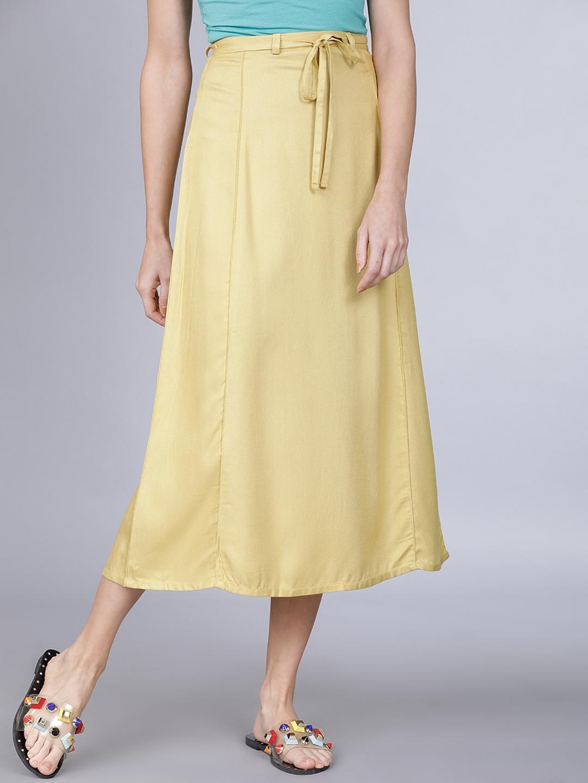 Tokyo Talkies Women Mustard Yellow Solid A Line Midi Skirt