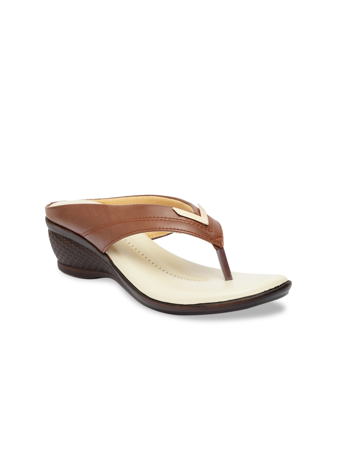 Butterflies Women Brown   Cream Solid Wedge Heels