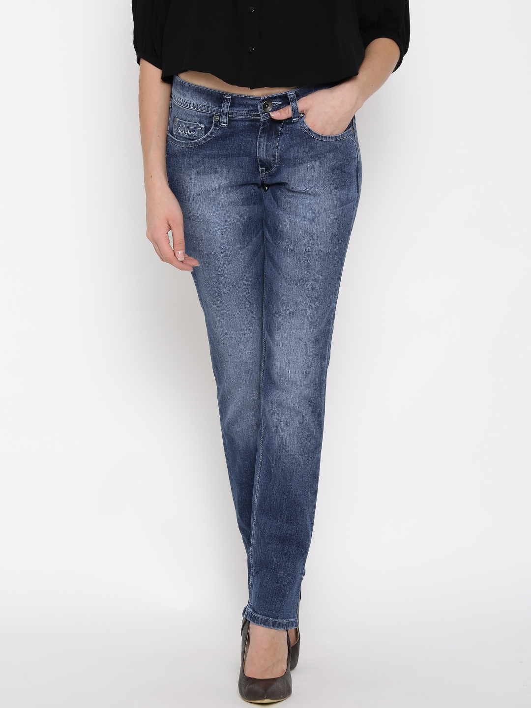 03c97149022 Buy Pepe Jeans Blue Washed Elite Fit Jeans - Jeans for Women 1189166 ...