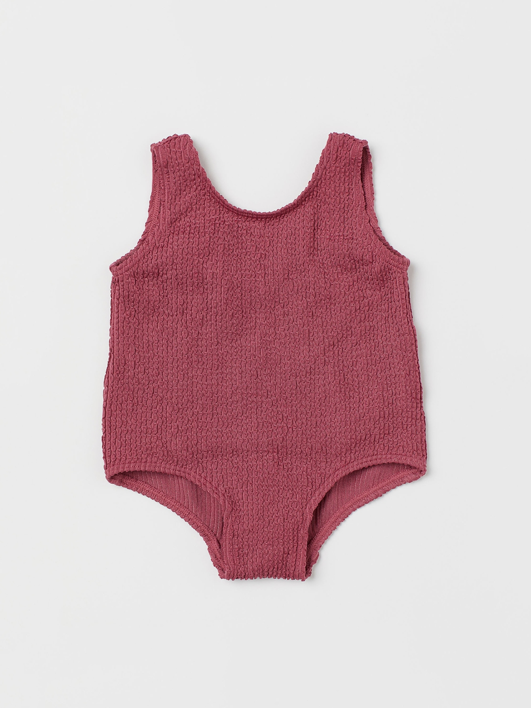 H M Girls Pink Solid Swimsuit