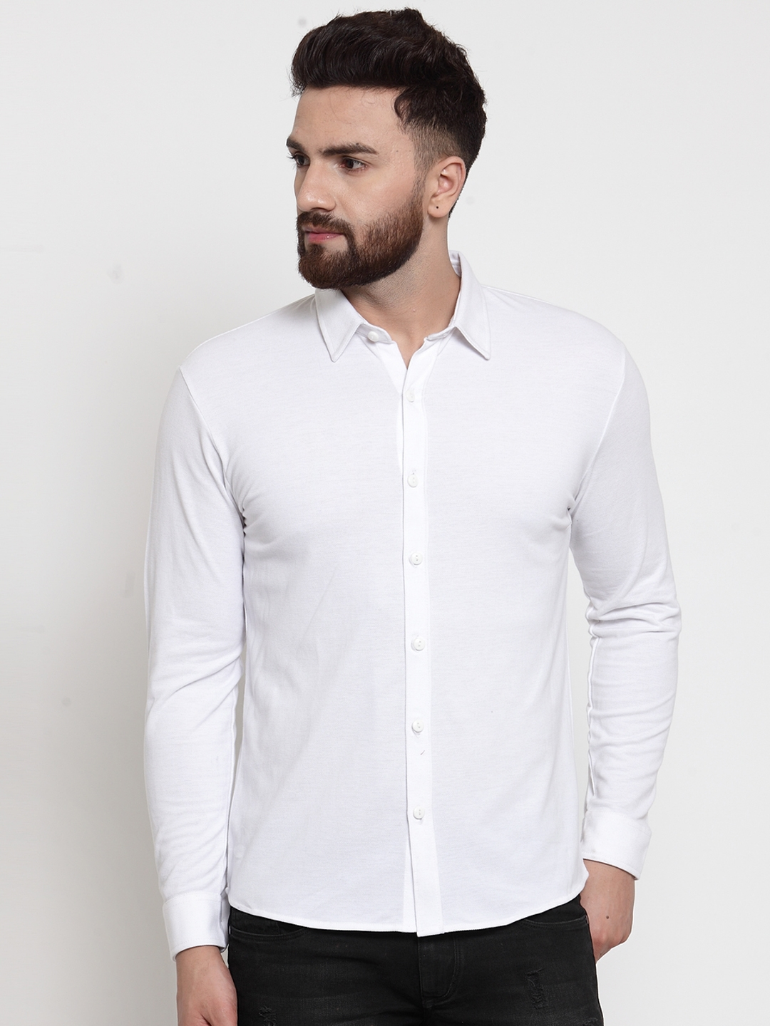 WILD WEST Men White Solid Casual Shirt