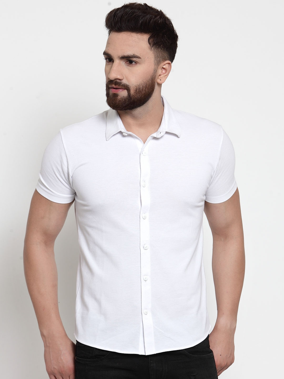 WILD WEST Men White Regular Fit Solid Casual Shirt