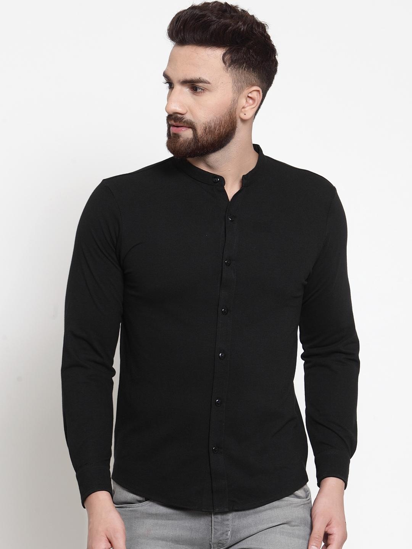 WILD WEST Men Black Regular Fit Solid Casual Shirt