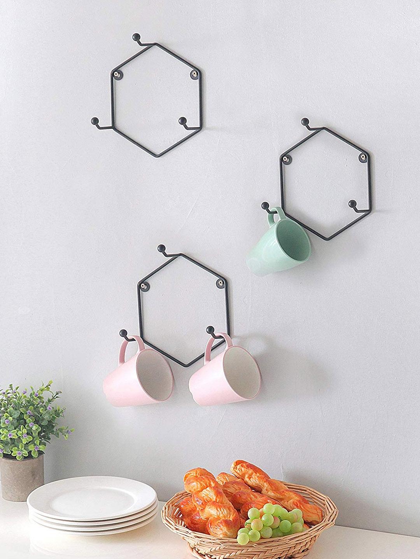 INCRIZMA Set Of 3 Black Geometric Metal Wall Mounted 3 Hook Mug Rack Holder
