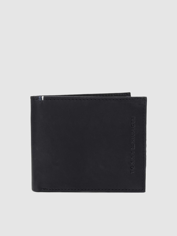 Tommy Hilfiger Men Black Genuine Leather Two Fold Wallet