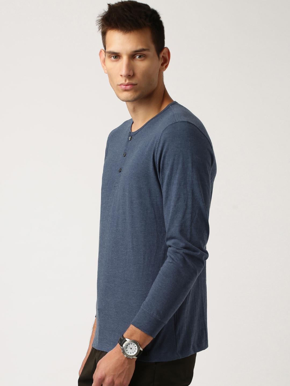 cbef6af6 Buy ETHER Blue Henley T Shirt - Tshirts for Men 1190732 | Myntra