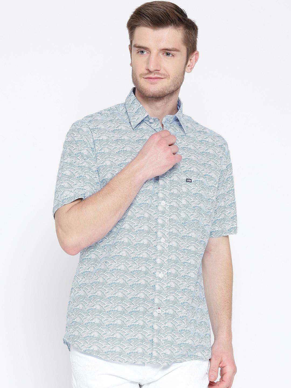 Arrow Sport Blue   White Printed Casual Shirt