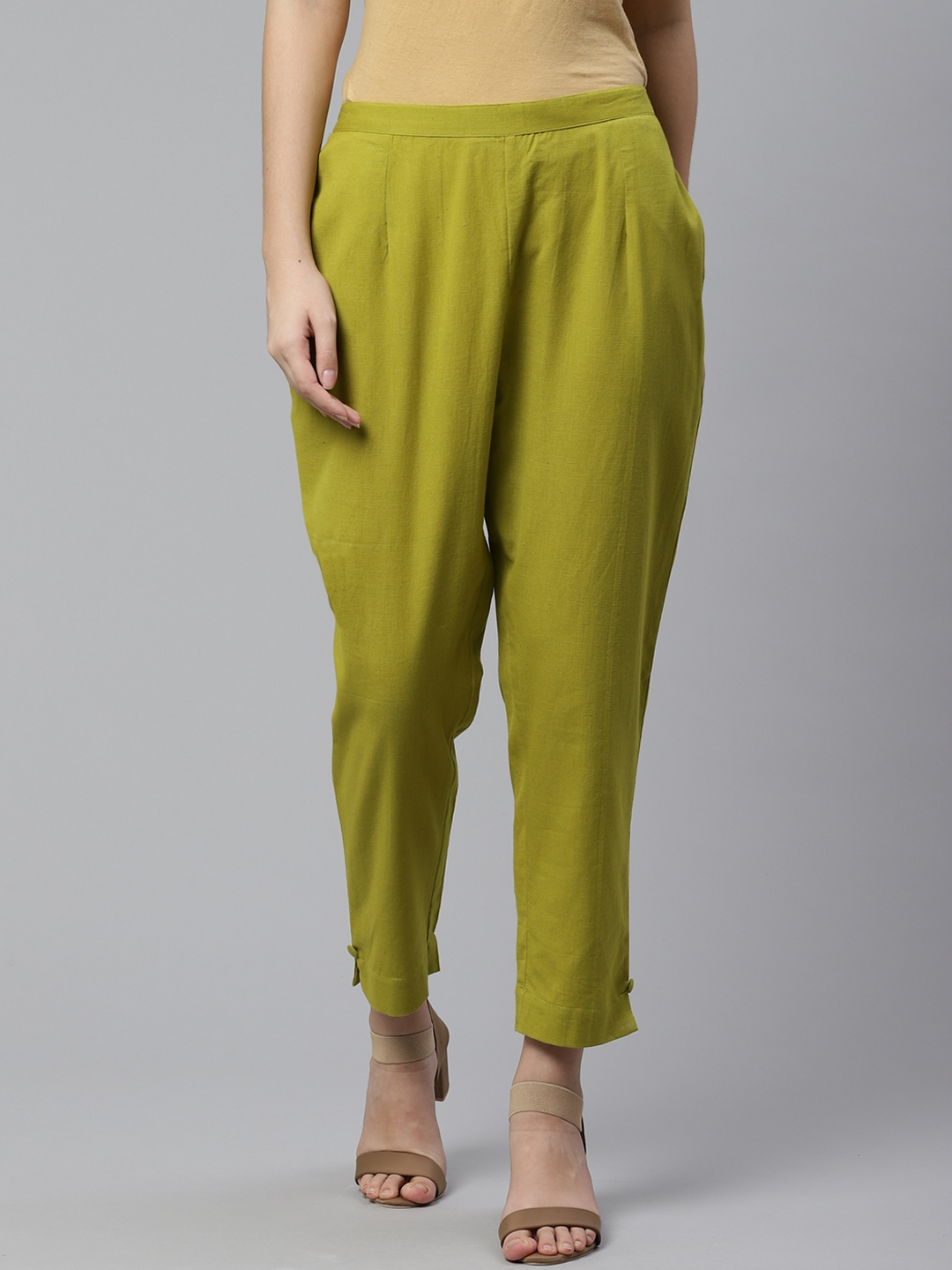 Libas Women Lime Green Regular Fit Solid Cropped Trousers