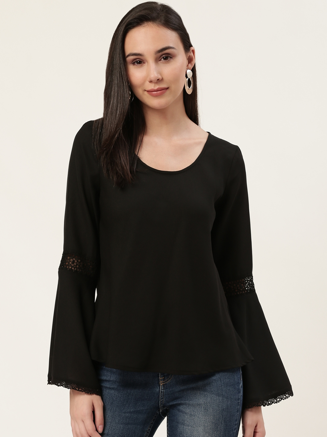 DODO   MOA Women Black Lace Solid Bell Sleeves Top