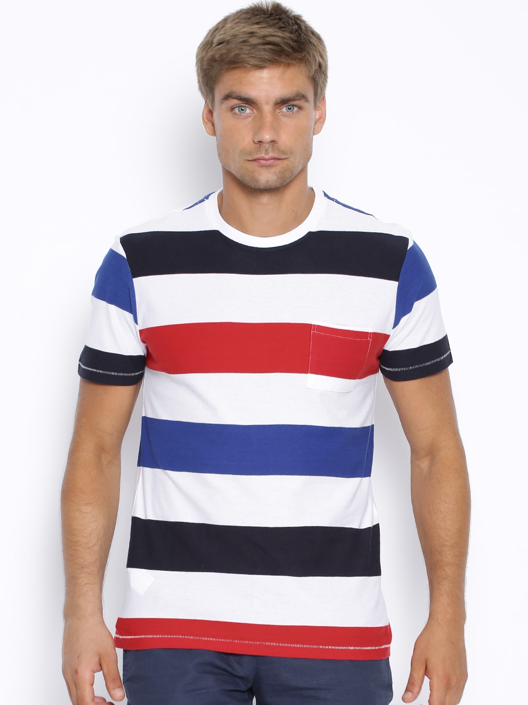 9ace99743c Buy H.E. By Mango White   Navy Striped T Shirt - Tshirts for Men ...
